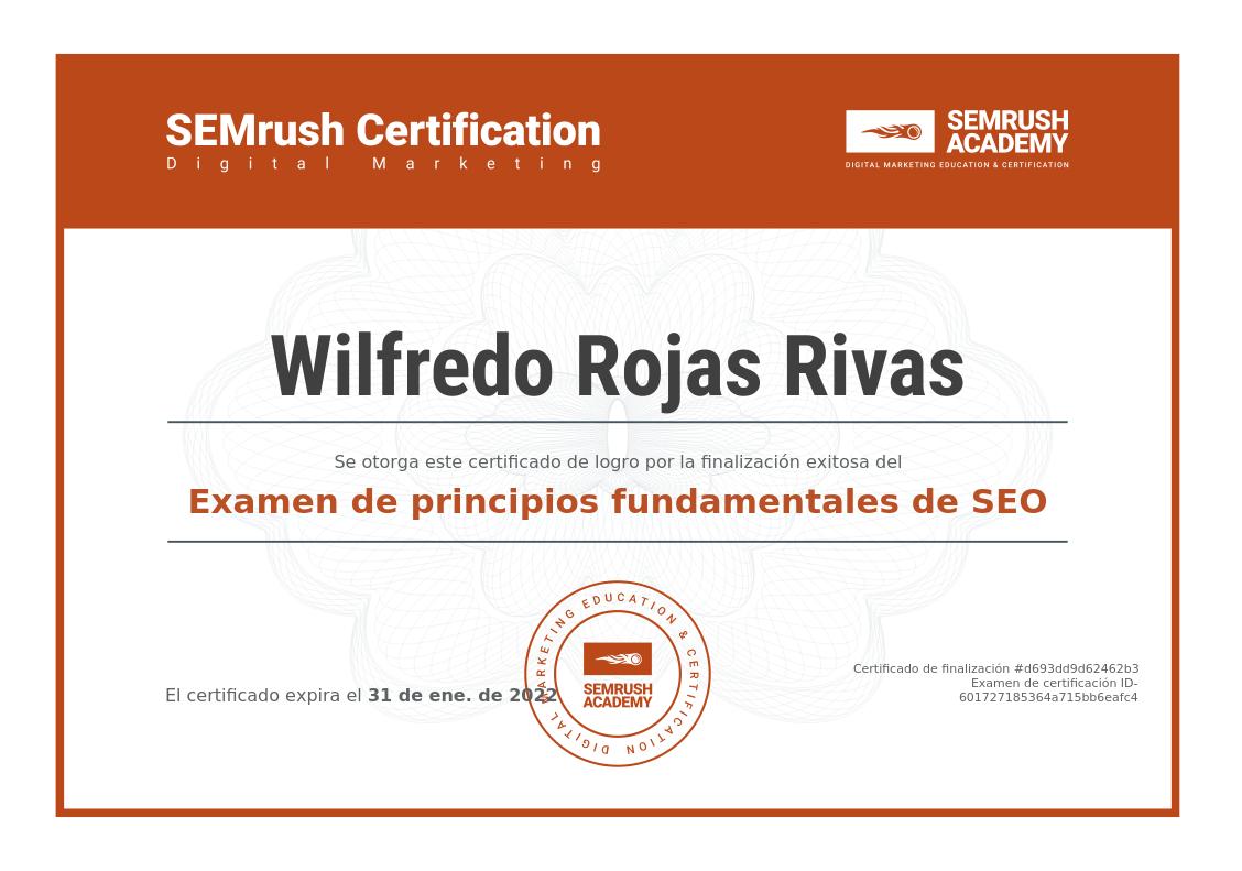 Certificado SEMRush academy